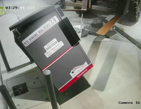Video shows thieves using a forklift to steal an ATM