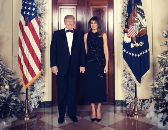 Melania dazzles in sparkles for Christmas card