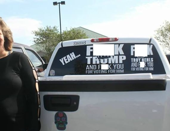 Woman targeted for anti-Trump sticker now sells them