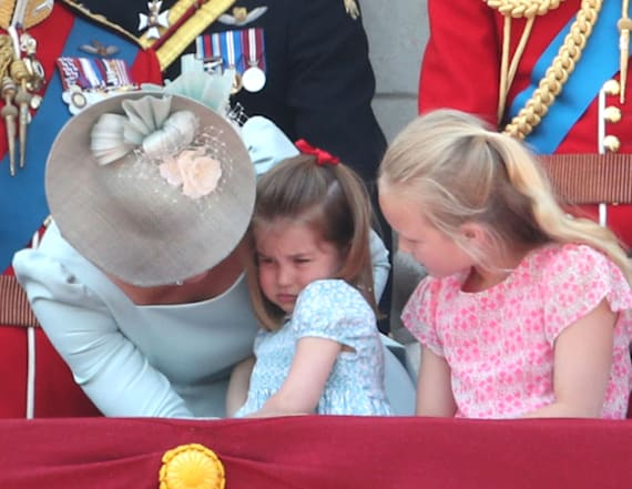Princess Charlotte falls at Trooping the Colour