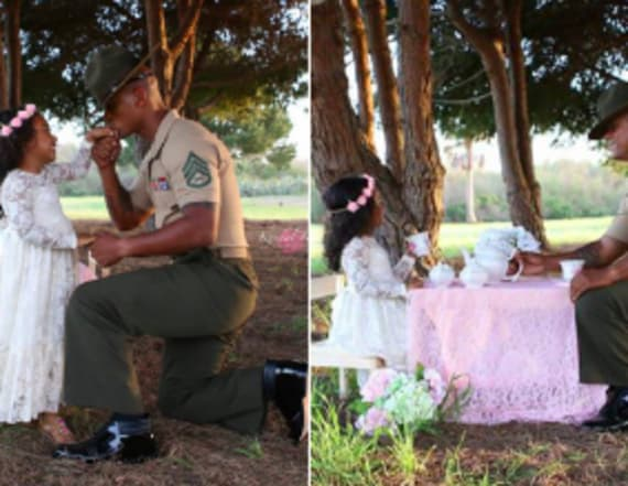 Marine dad and daughter have tea party
