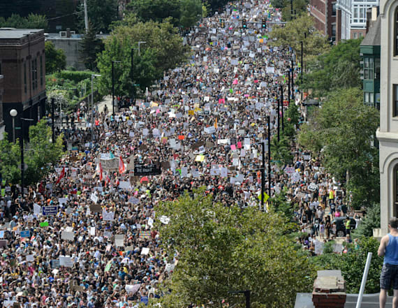 Thousands take to streets to counter-protest rally