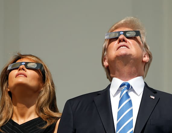 Melania looked totally glam watching the eclipse