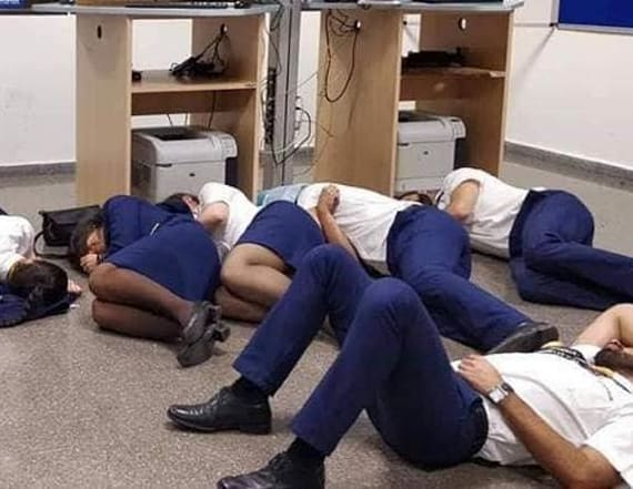 Airline says photo of crew sleeping on floor is fake
