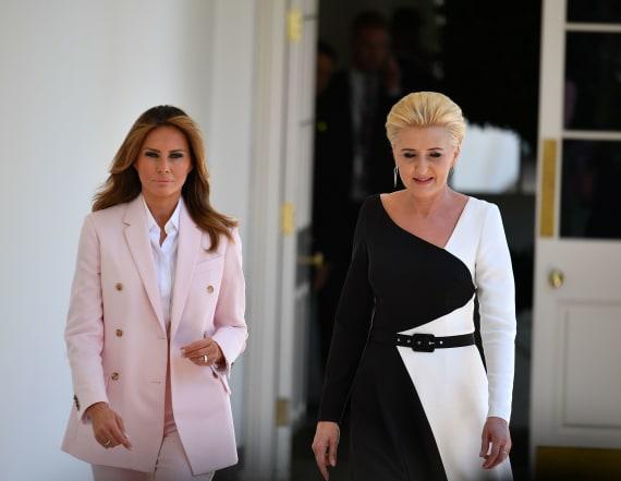 Melania Trump wears pink Calvin Klein pantsuit
