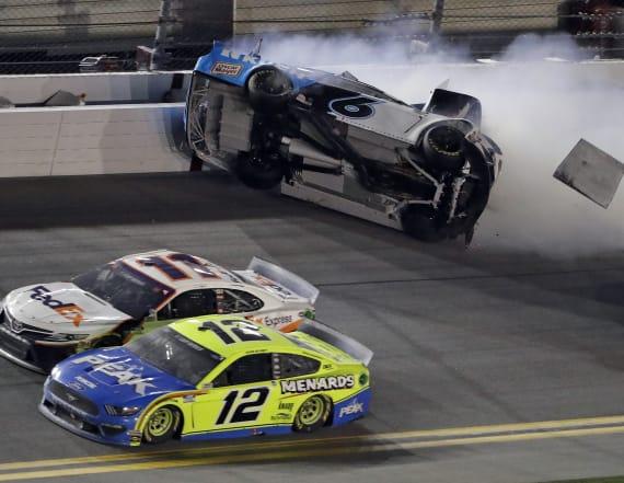 Hamlin wins Daytona 500 as Newman flips at finish