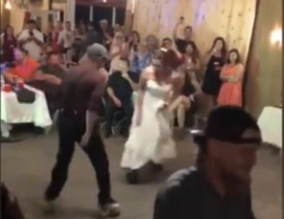 Bride and dad pull off dance on roller skates