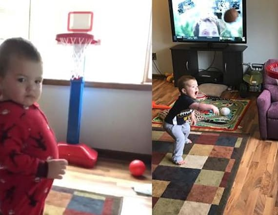 Talented toddler sinks basketball without looking