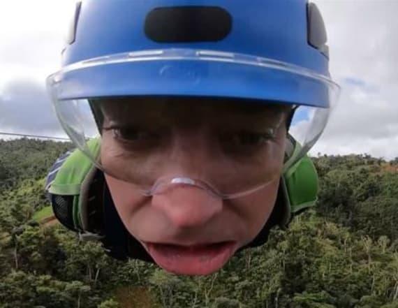 Jimmy Fallon freaks out riding 'Monster' zip line