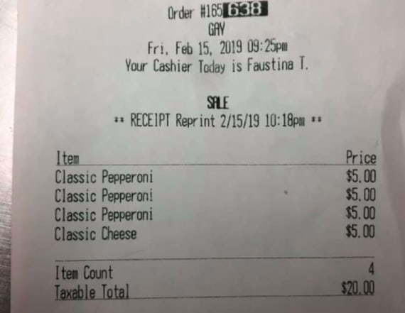 Fast-food worker fired for writing 'Gay' on receipt