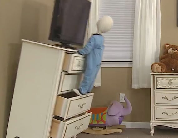 Device protects children from falling furniture