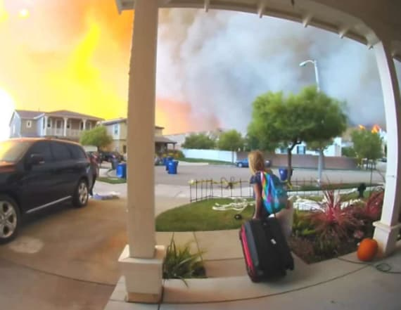 Doorbell camera catches frantic wildfire evacuation