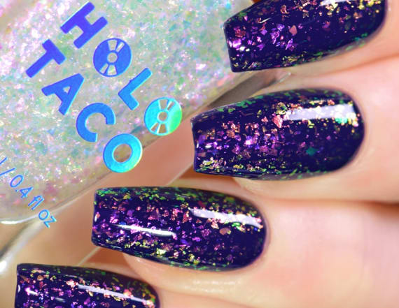 This holographic nail polish looks like a galaxy