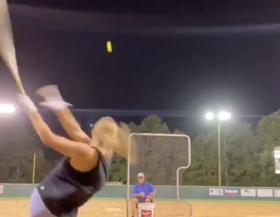 Video of young woman crushing home runs going viral