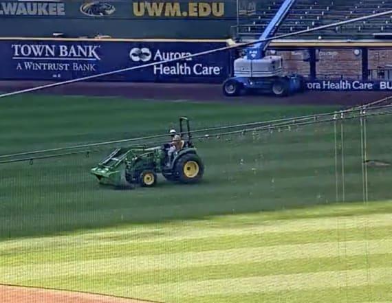 Man breaks into Brewers' ballpark, hijacks tractor