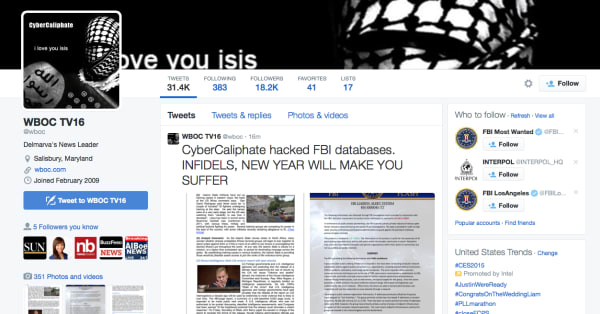 Alleged ISIS cyber terrorists infiltrate media Twitter accounts