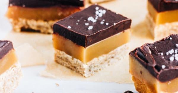 Espresso caramel shortbread bars