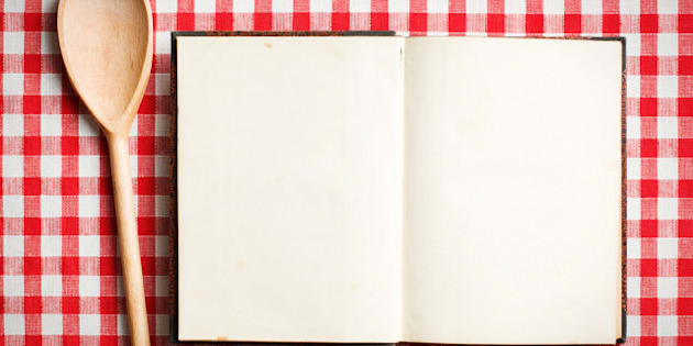 open old recipe book on...