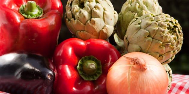 horizontal fresh vegetables and ...