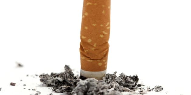cigarette butt on white