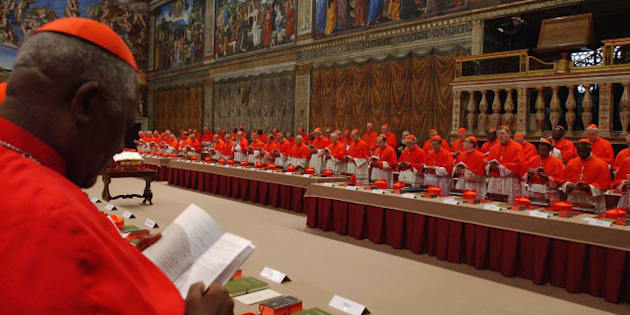 VATICAN CITY - APRIL 18: Cardinals of the Catholic Church attend the election conclave in the Sistine Chapel on April 18, 2005 at the Vatican, Vatican City. The 115 Cardinals will elect a successor to Pope John Paul II during the Conclave in the Chapel, at which point symbolic white smoke rising from the chimney will announce to the world that they have reached a decision. (Photo by Arturo Mari - Vatican Pool/ Getty Images)