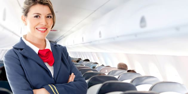 beautiful air hostess in an...