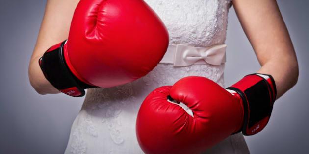 detail of bride wearing boxing...