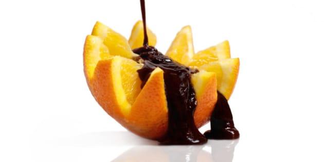 chocolate flows on orange....