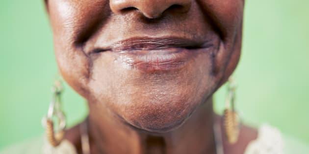 old black woman portrait  close ...