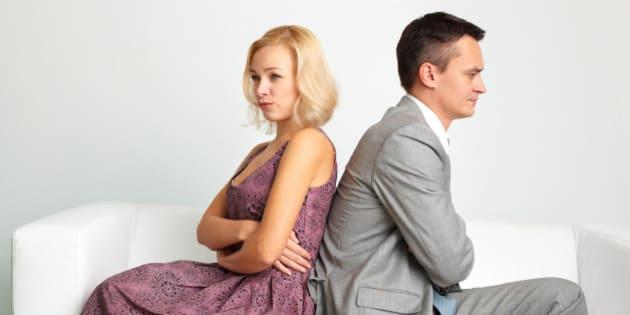 unhappy couple going through...