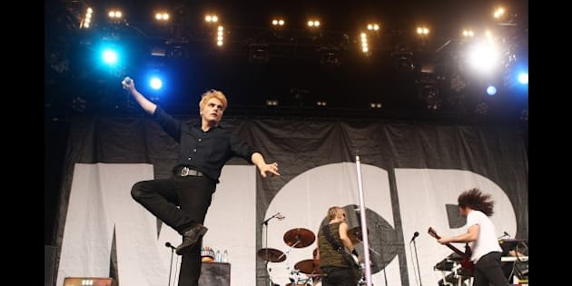 SYDNEY, AUSTRALIA - JANUARY 26:  Gerard Way of My Chemical Romance performs on stage at Big Day Out 2012 at the Sydney Showground on January 26, 2012 in Sydney, Australia.  (Photo by Mark Metcalfe/Getty Images)