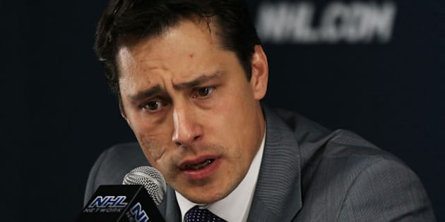 BOSTON, MA - MAY 27:  Head coach Guy Boucher of the Tampa Bay Lightning speaks to the media after their 0 to 1 loss to the Boston Bruins in Game Seven of the Eastern Conference Finals during the 2011 NHL Stanley Cup Playoffs at TD Garden on May 27, 2011 in Boston, Massachusetts.  (Photo by Elsa/Getty Images)
