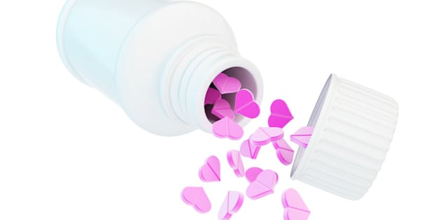 container for tablet heart on a ...