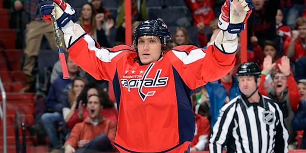 WASHINGTON, DC - MARCH 17:  Alex Ovechkin #8 of the Washington Capitals celebrates after scoring in the first period against the Buffalo Sabres at the Verizon Center on March 17, 2013 in Washington, DC.  (Photo by Greg Fiume/Getty Images)