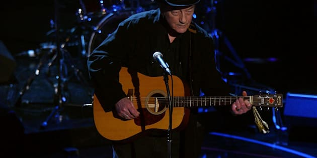 TORONTO, ON - JUNE 12:  Stompin Tom Connors performs on stage during the 2008 NHL Awards at the at the Elgin Theatre on June 12, 2008 in Toronto, Canada.  (Photo by Bruce Bennett/Getty Images for NHL)