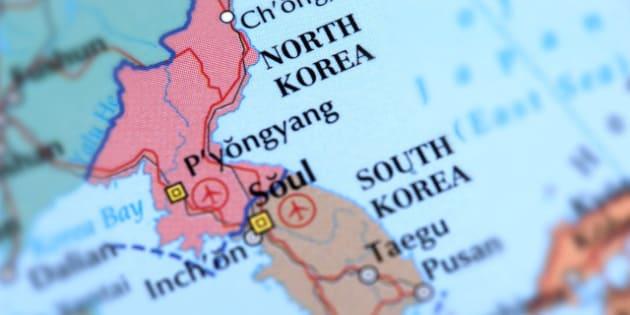 Map of North Korea. Selective Focus.