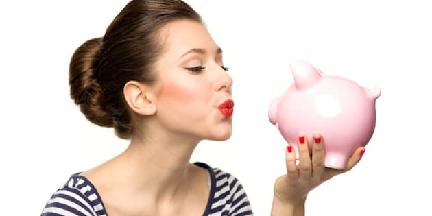 pin up girl kissing piggy bank