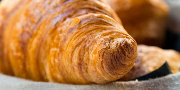 fresh croissant on table ...