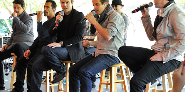 NAPA, CA - APRIL 07: Jonathan Knight, (L-R) Danny Wood, Jordan Knight, Joey McIntyre and Donny Walberg of New Kids On The Block perform at Sutter Winery at Live In The Vineyard (Day 4) on April 7, 2013 in Napa, California. (Photo by Steve Jennings/WireImage)