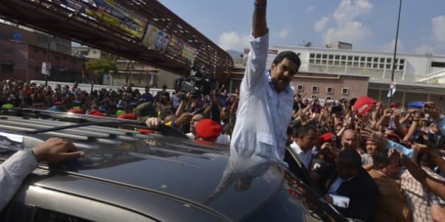 CARACAS, VENEZUELA - APRIL 14:  Nicolas Maduro, candidate of PSUV greets the people after vote on April 14, 2013 in Caracas, Venezuela. (Photo Gregorio Marrero/LatinContent/Getty Images)