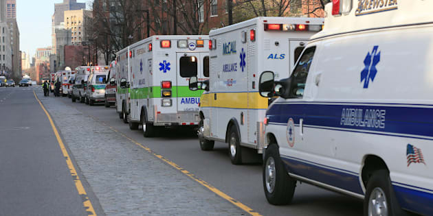 BOSTON - APRIL 15: Ambulances line Columbus Avenue after two explosions went off near the finish line of the 117th Boston Marathon on April 15, 2013. (Photo by David L. Ryan/The Boston Globe via Getty Images)