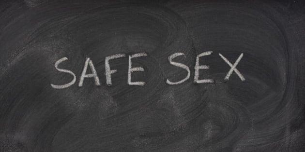 safe sex title handwritten with ...