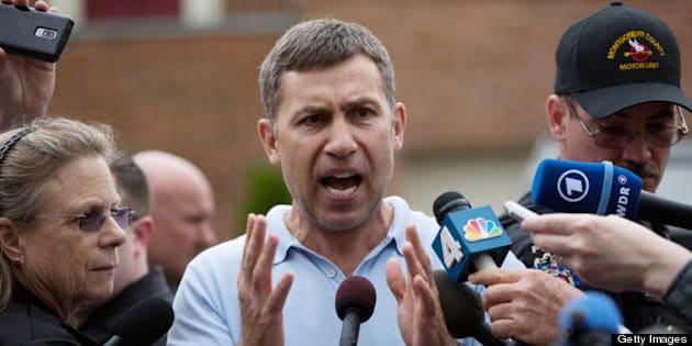 MONTGOMERY VILLAGE, MD - APRIL 19:  Ruslan Tsarni, uncle of the suspected Boston Marathon bombing suspects, speaks to reporters in front of his home April 19, 2013 in Montgomery Village, Maryland. Tsarni asked the still at large bombing suspect Dzhokhar Tsarnaev to turn himself in.  (Photo by Allison Shelley/Getty Images)