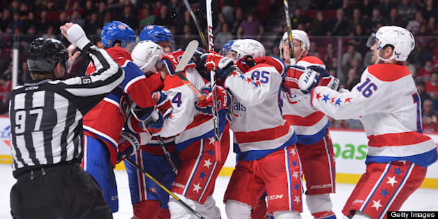 MONTREAL, CANADA - APRIL 20: Members of the Montreal Canadiens and the Washington Capitals get physical during the third period of the NHL game on April 20, 2013 at the Bell Centre in Montreal, Quebec, Canada. (Photo by Francois Lacasse/NHLI via Getty Images)
