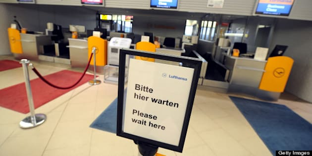 Check in desks of German airline Lufthansa are deserted during a warning strike at the airport in Hanover, central Germany, on April 22, 2013. German airline Lufthansa said it has cancelled most of its domestic, European and long-haul flights at six German airports due to strike action by ground personnel and some cabin crew.     AFP PHOTO / HOLGER HOLLEMANN / GERMANY OUT        (Photo credit should read HOLGER HOLLEMANN/AFP/Getty Images)