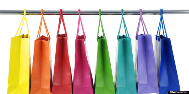 colorful shopping bags on white ...