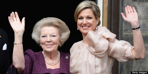 AMSTERDAM, NETHERLANDS - APRIL 30:  Princess Beatrix of the Netherlands (L) and Queen Maxima (R) appear on the balcony of the Royal Palace to greet the public after her abdication and ahead of the Inauguration of King Willem Alexander of The Netherlands on April 30, 2013  in Amsterdam, Netherlands.  (Photo by Pascal Le Segretain/Getty Images)