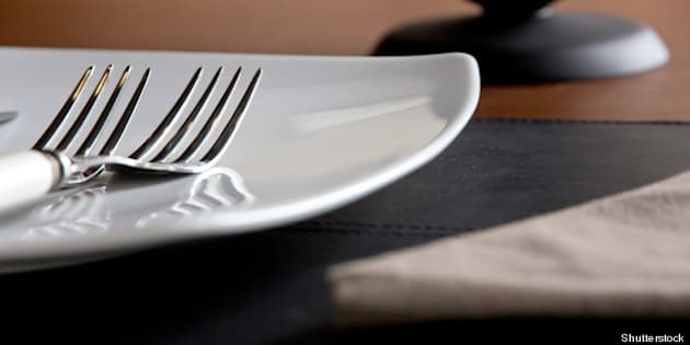close up of plate and fork