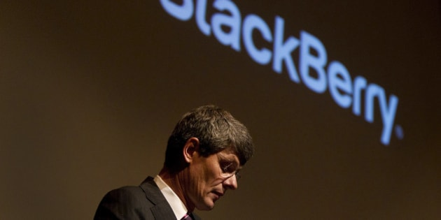 Thorsten Heins, president and chief executive officer of Research In Motion Ltd. (RIM), pauses while speaking at the company's annual shareholders meeting in Waterloo, Ontario, Canada, on Tuesday, July 10, 2012. Research In Motion Ltd. aims to release the first of its new BlackBerry 10 smartphones globally in January, betting that the device will help it regain market share lost to rivals led by Apple Inc. and Google Inc. Photographer: Brent Lewin/Bloomberg via Getty Images