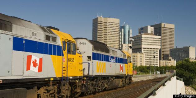 Via Rail passes through downtown Winnipeg, Manitoba, Canada